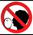 No chewing gum prohibited symbol sign vector image