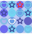 pattern with marine stars and hearts vector image