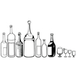set of old bottles and wineglass vector image
