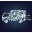 Delivery truck sign icon made a lot of diamonds vector image