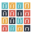 Flat silhouette icons of arches with shadow vector image