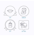 Gift box lips kiss and wedding jewelry icons vector image