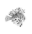 black and white lionfish cartoon pterois volitans vector image