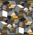 dold and black 3d geometric cubes pattern vector image