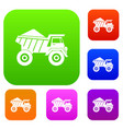 dump truck with sand set collection vector image