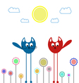 Fancy cats and flowers vector image