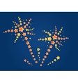 firework with yellow and red stars vector image