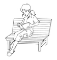 Girl sitting on a bench reading a book vector image