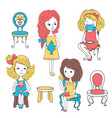 girls with tea and chairs vector image