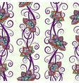 Seamless pattern with colorful flowers and swirls vector image