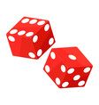 shiny red dices on the white background - vector image