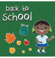 stickers back to schoolWith a child backpack apple vector image