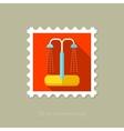Summer beach pool shower flat stamp vector image