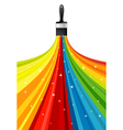Rainbow brush with stars vector image vector image