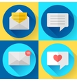 Flat color message sms icons set vector image