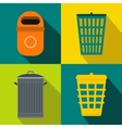 Trash bin garbage banners set flat style vector image