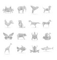 asian creative origami animals collection vector image