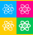 atom sign four styles of icon on vector image