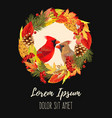 autumn card with leaves and birds vector image