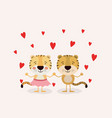 color background with couple of tigers in love vector image