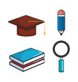 education tools set icons vector image