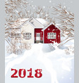 red vintage house winter snowy background vector image