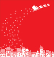 Santa Claus over the city vector image