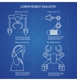 Robot arms blueprint vector image