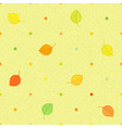 Seamless polka dots pattern with autumn leaves vector image