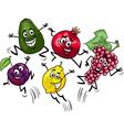 jumping fruits cartoon vector image vector image