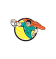 Superhero Rugby Player Scoring Try Circle vector image