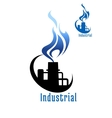 Industrial plant with blue gas flame vector image vector image