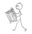 cartoon of businessman reading news in newspaper vector image