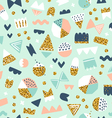 Fun shapes pattern with gold vector image