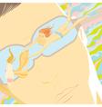 Mens fantasies girl swimming with goldfish vector image