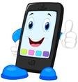 Smart phone cartoon giving thumb up vector image