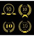 10 years anniversary laurel gold wreath set vector image