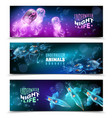 underwater colorful horizontal banners set vector image