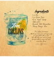 Tom Collins cocktails watercolor kraft vector image