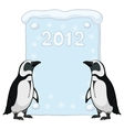 emperor penguins with poster 2012 vector image vector image