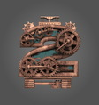 2 rusted letter with gears vector image
