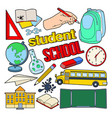 back to school doodle with pen book vector image