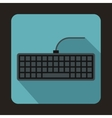 Black computer keyboard icon flat style vector image