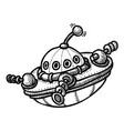 cartoon image of flying saucer vector image