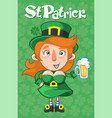 cartoon st patrick day template vector image