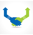 Green and blue Hand shake arrows vector image