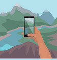 hand making photo of landscape on smartphone vector image