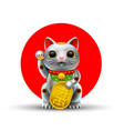 japan lucky cat metal silver vector image
