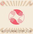 teamwork hands human connection logo vector image