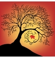 The black silhouette of a beautiful big tree with vector image